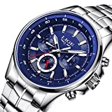 Watches,Mens Watches,Mens's Classic Luxury Stainless Steel Quartz Watches,Water Resistant,with Calendar Date Window,Multifuntional Fashion Casual Dress and 3 Dials display