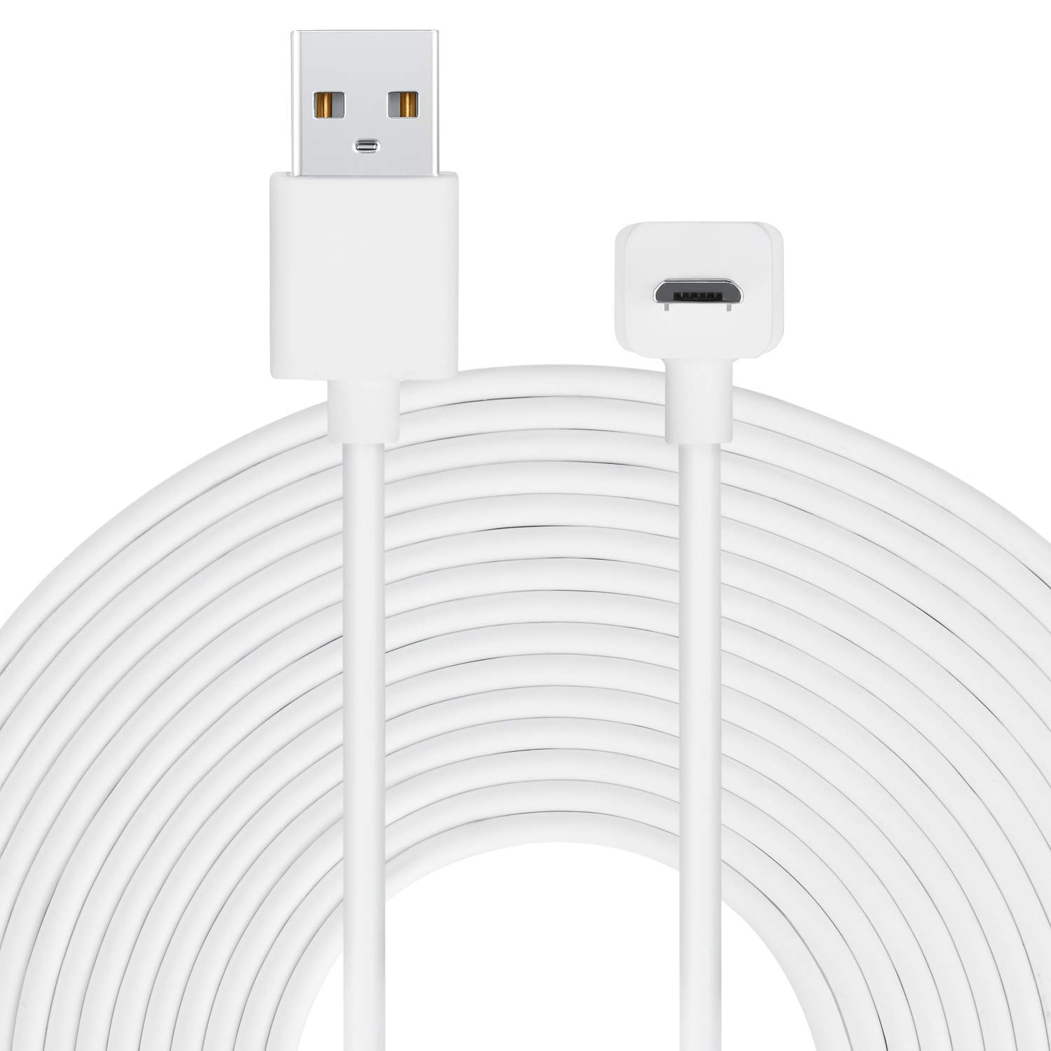 Long Cable Compatible with Amazon Cloud Cam with thoughtfully designed L-Shaped Micro-USB Head - by Wasserstein - Longer reach for your Cloud Cam (6m / 20ft, White)