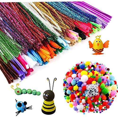 723 Pcs Assorted Colors Pipe Cleaners Set, Including 300 Pcs 30 Colors Craft Chenille Stems,250 Pcs 7 Size Pompoms and 160 Pcs 3 Size Wiggle Googly Eyes for DIY Art -