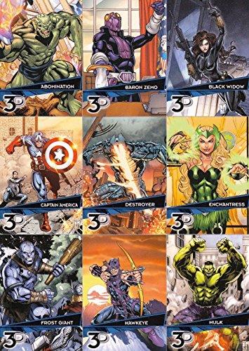 MARVEL 3D 2015 UPPER DECK COMPLETE BASE CARD SET OF 72 (Cards Trading Comic Book)