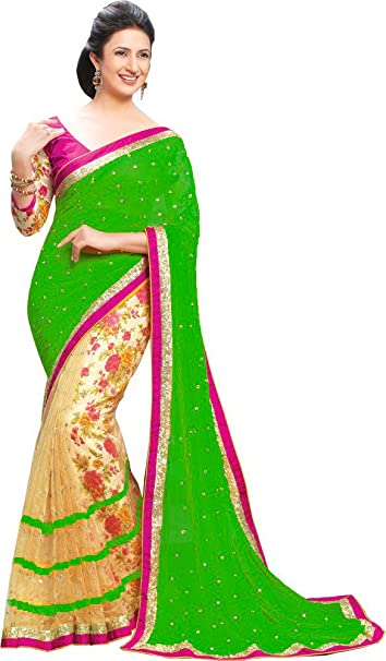 abeeb130a7 Rudra Fashion Party Wear Green Colour Fancy Sarees: Amazon.in: Clothing &  Accessories