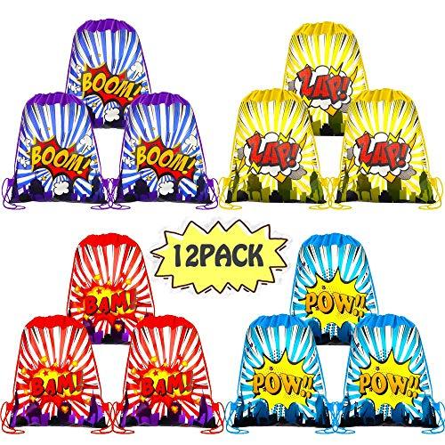 - POKONBOY Superhero Party Supplies Favors Bags, 12 Pack Super Hero Drawstring Backpacks for Boys Girls Kids Superhero Theme Birthday Party Supplies (3 Colors)