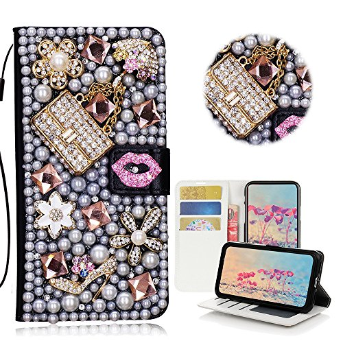 STENES iPhone 8 Plus Case - Stylish - 3D Handmade Bling Crystal Sexy Girls Bag High Heel Lips Desgin Wallet Credit Card Slots Fold Media Stand Leather Case for iPhone 7 Plus/iPhone 8 Plus - Pink ()