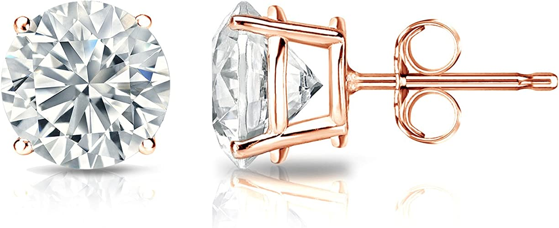 0.08cttw, Good, SI1-SI2 Bezel Set Screw-Back Diamond Wish 10k Gold Round SINGLE Diamond Stud Earring