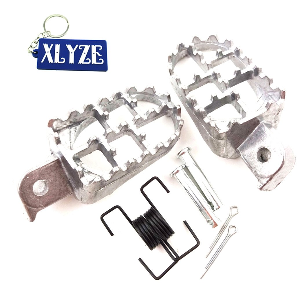 XLYZE Aluminum Footpegs Footrest Foot Pegs Rest Silver for Pit Dirt Motor Bike Yamaha PW 50 80 PW50 PW80 TW200