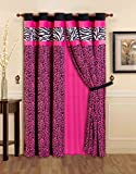 4 - Piece Grommet Bright Pink Black White Zebra Leopard Micro Fur Grommet curtain set Drapes / Window Panels 108
