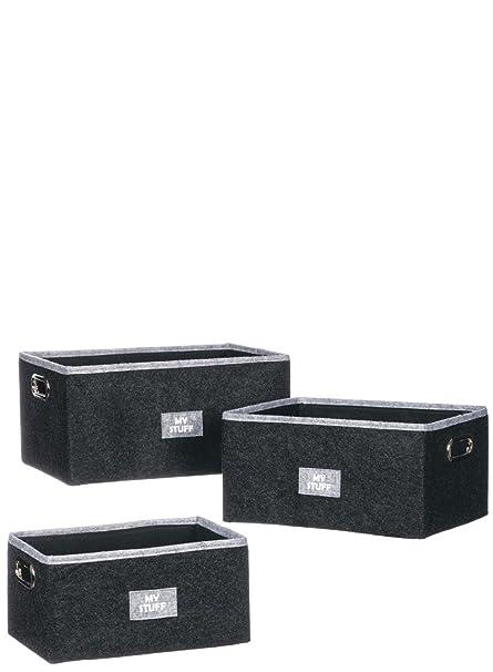 Amazon com: Sullivans My Stuff Storage Bins - Set of 3: Home & Kitchen