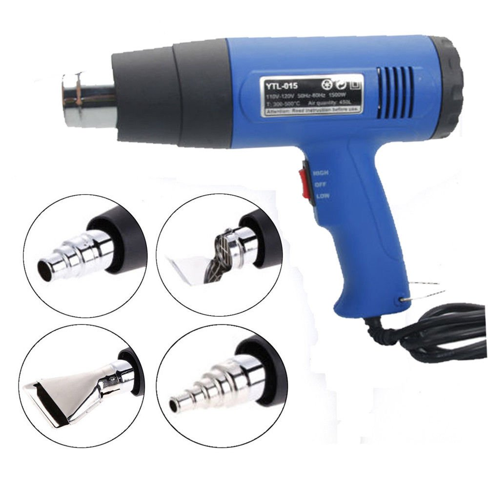 Moon Daughter 1500W Heat Gun Hot Air Wind Blower Dual Temperature w/ 4 Stainless Steel Nozzles Power Heater Blue New