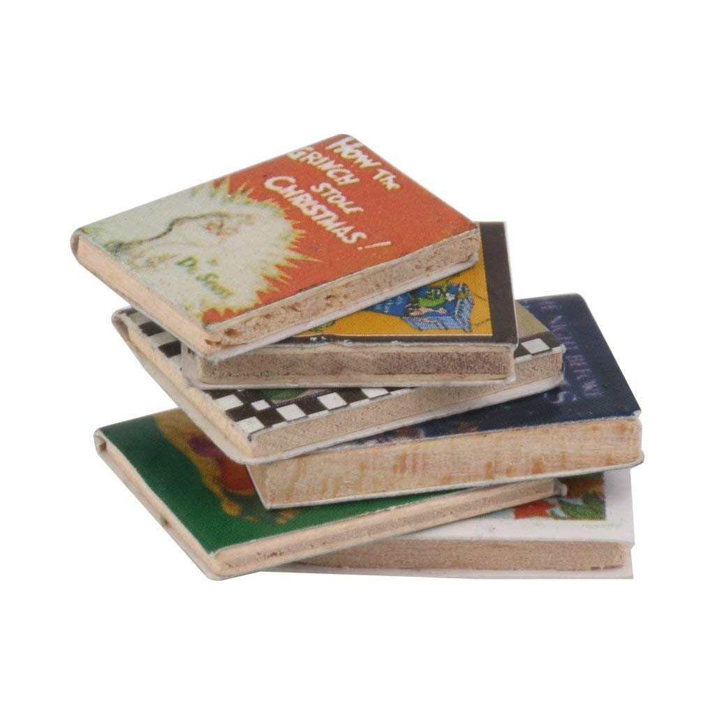 ButyYI 6 Pieces Dollhouse Miniature Wooden Books Fit for 1//12 Scale Dollhouse Reading Room Decor