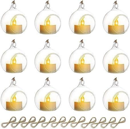 Pendentif En Verre /Équip/é De Bougies LED 10pcs Bougeoir En Verre Suspendu D/écorations De No/ël // Saint Valentin D/écoration Aux Chandelles Pour Table De Mariage // F/ête 2 Pcs