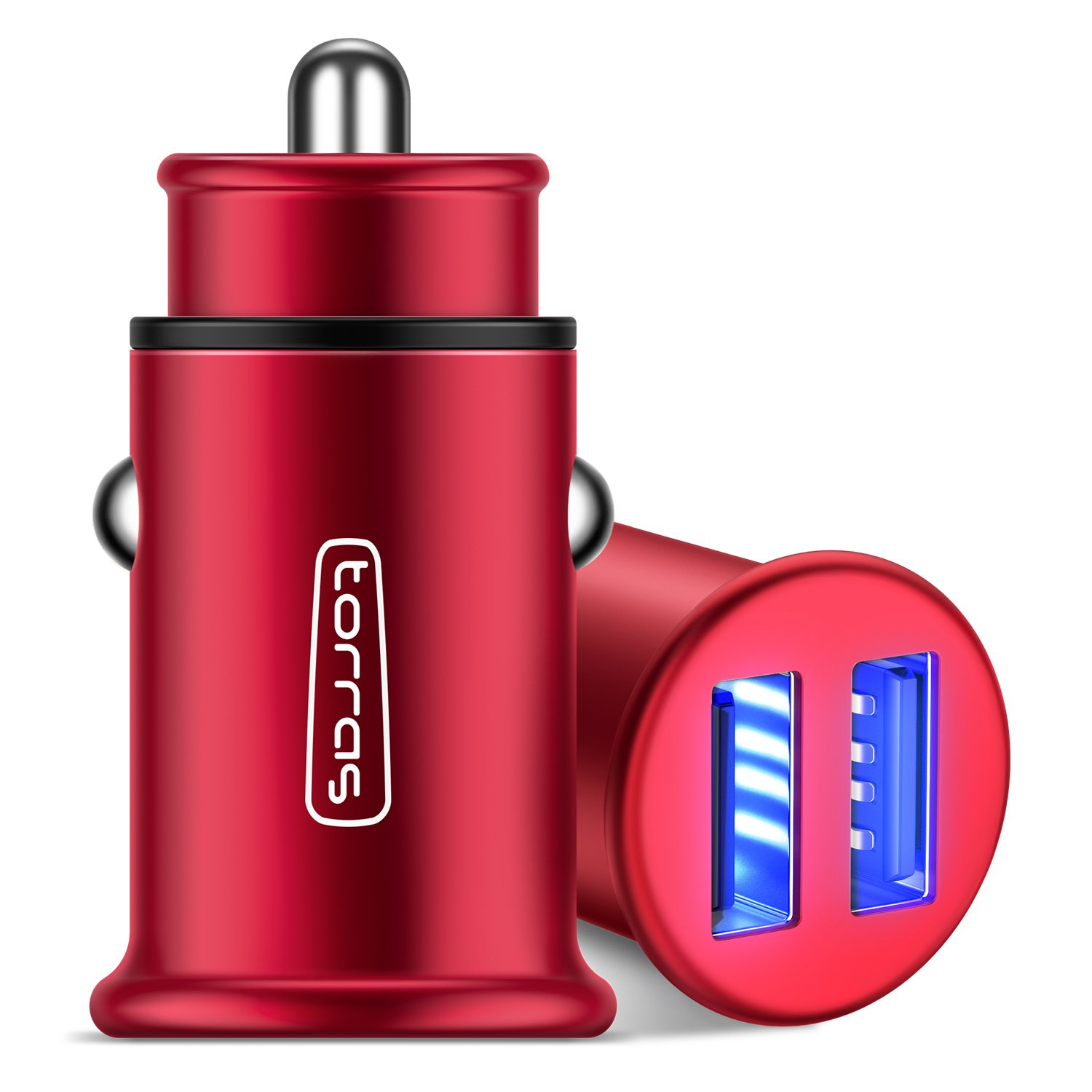 TORRAS Full Metal Car Charger, 4.8A 24W Flush Fit Dual USB Port Car Power Adapter for iPhone X/8/7/6/Plus, iPad Pro/Mini, Samsung Galaxy, LG and More (1-Pack) - Red