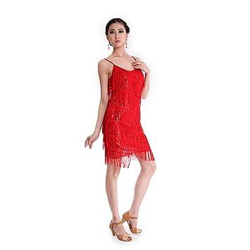 Danza Vestido CoastaCloud Mujer Concurso De Danza Vestido Tassle Latín Moderno Discoteca Rojo