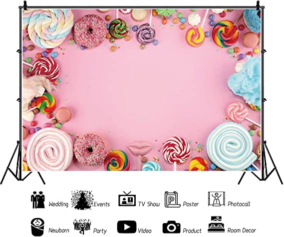 DORCEV 7x5ft Cartoon Candyland Photography Backdrop for Kids Birthday Party Baby Shower Background Sweet Lolipop Candy Pink Ribbon Birthday Party Photo Video Studio Props