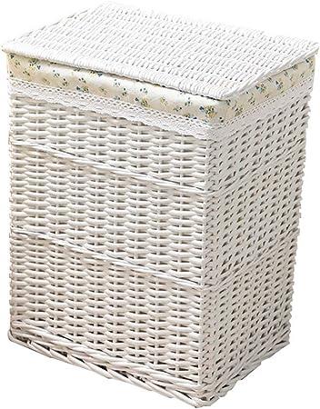 Storage Box Cesto De Ropa De Mimbre Rota Caja De Almacenamiento Grande Cesta De Almacenaje con Tapa Y Forro De AlgodóN. Ropa, Juguetes, Snacks, Organizadores MarróN Natural: Amazon.es: Hogar