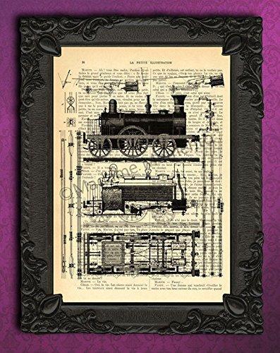 Amazon.com: Train diagram dictionary art print, black and white ...
