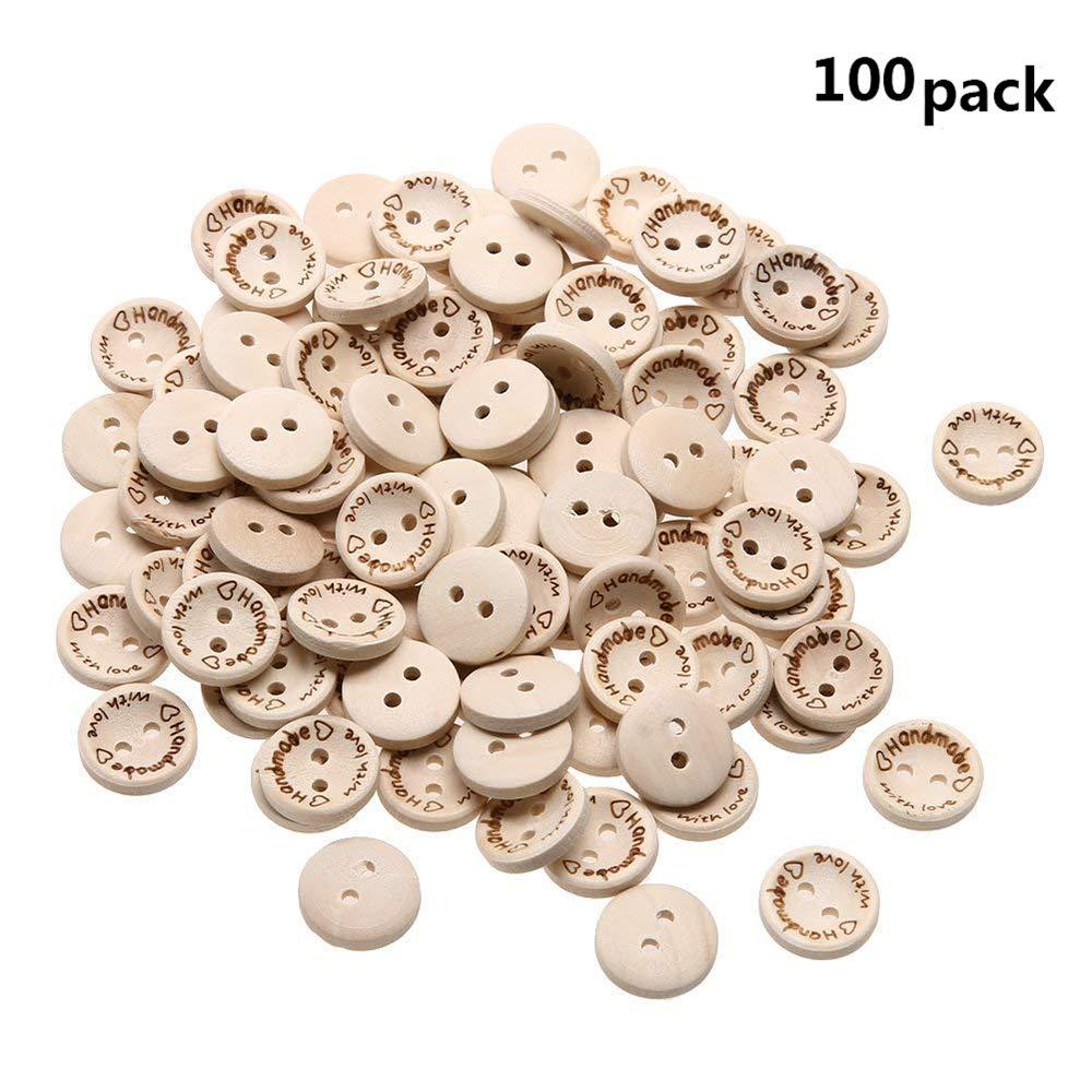 """Stockton, 100 Bottoni in Legno con Scritta in Lingua Inglese """"Handmade with Love"""", per Decorazione di Album e Cucito, 1,5 cm"""