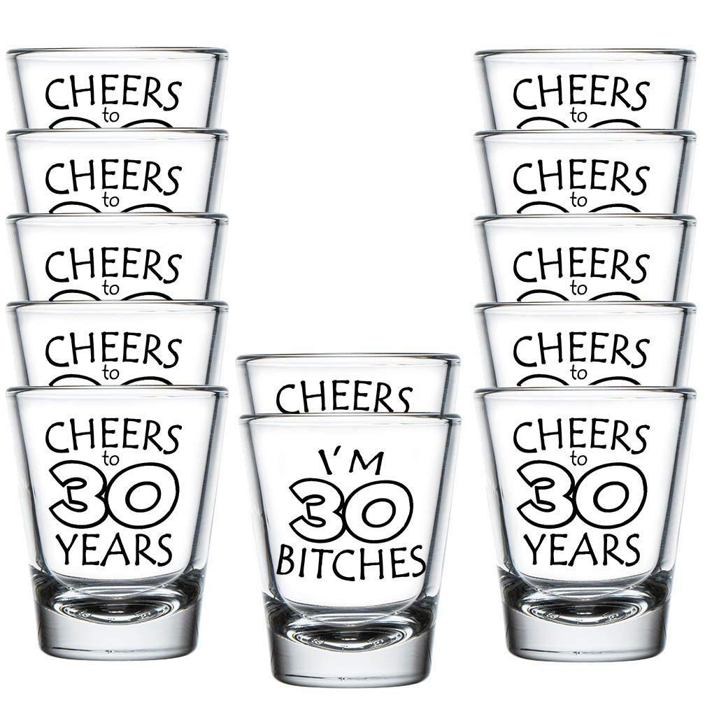 Shop4Ever I'm 30 B ~ Cheers to 30 Years Shot Glasses Set - 30th Birthday Gift For Her Him - Dirty Thirty - (12 Pack)