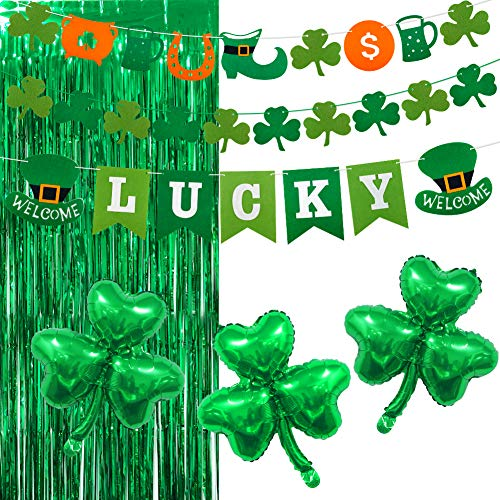 UTOPP St.Patrick's Day Decorations Kit, Shamrock Clover Balloons Garland Banner Green Mylar Foil Fringe Curtain 3ft x 8ft Photo Backdrop Irish Lucky Banners Flags for Green Themed Party Supplies ()