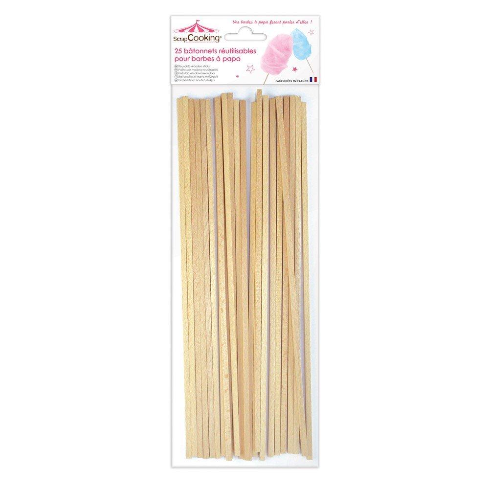 ScrapCooking 5187- Juego DE 25Varillas para Algodón de Azúcar de Haya Beis DE 34 x 11 x 1 cm. CARAMBELLE SAS