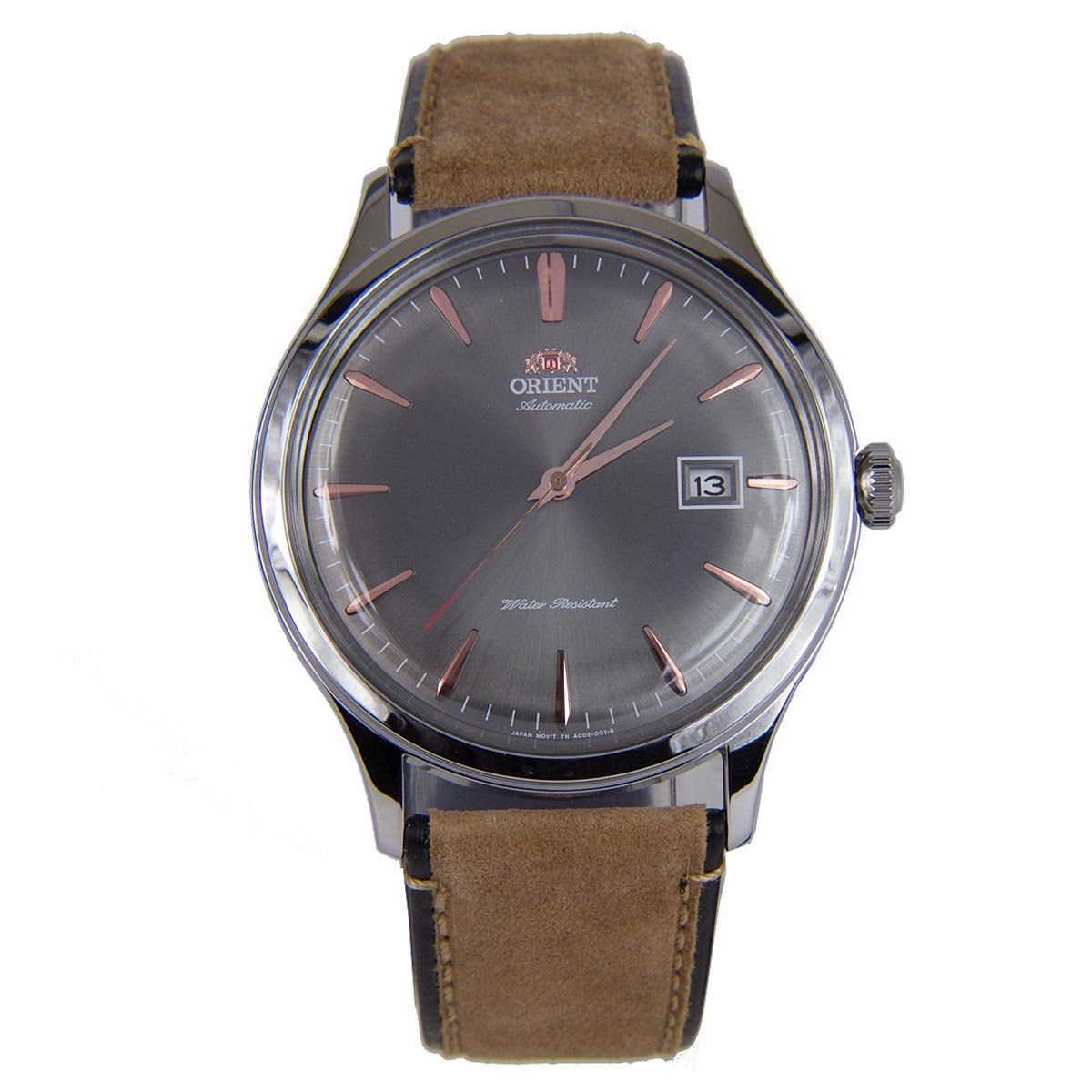 Orient Men's 'Bambino Version 4' Japanese Automatic Stainless Steel and Leather Dress Watch, Color:Brown (Model: FAC08003A0)