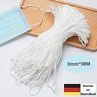 【3mm 50Metros】Cuerda Elastica, elloLife Blanco Redondos Cintas elásticas