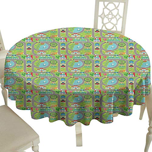 Cranekey Printing Round Tablecloth 65 Inch Kids Car