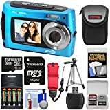 Bell & Howell 2VIEW18 HD Dual Screen Waterproof Digital Camera (Blue) with 32GB Card + Batteries & Charger + Case + Tripod + Floating Strap + Kit