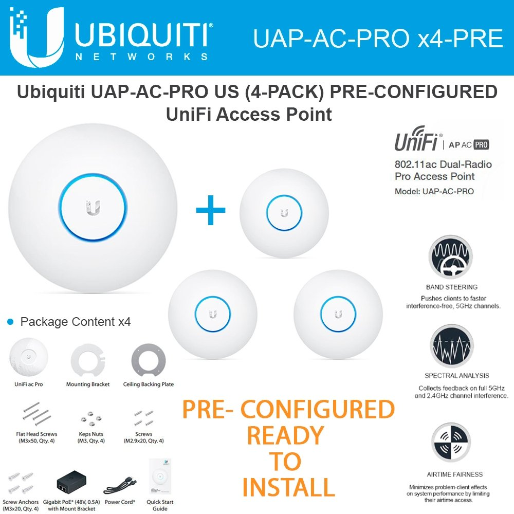 Ubiquiti Unifi UAP-AC-PRO 4-PACK PRE-CONFIGURED Dual-Radio Pro Access Point PoE by Ubiquiti Networks (Image #1)