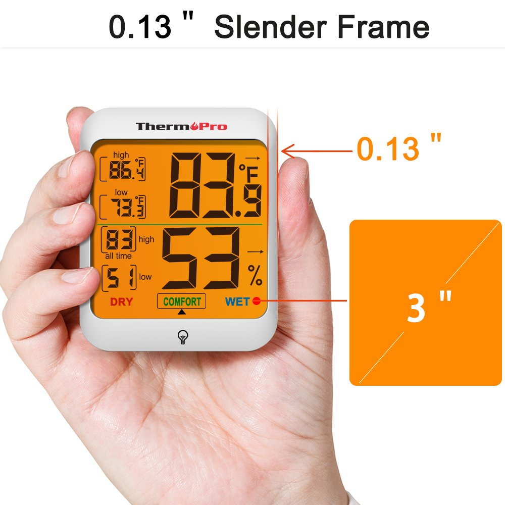 ThermoPro TP53 Hygrometer Humidity Gauge Indicator Digital Indoor Thermometer Room Temperature and Humidity Monitor with Touch Backlight by ThermoPro (Image #3)
