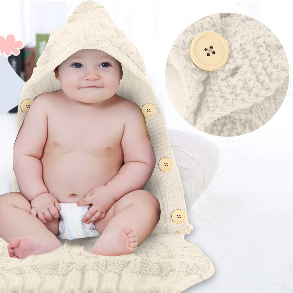 L Jinjuntech Couverture demmaillotage pour nouveau-n/é en laine tricot/ée pour b/éb/é de 0 /à 12 mois kaki 70cm *39cm