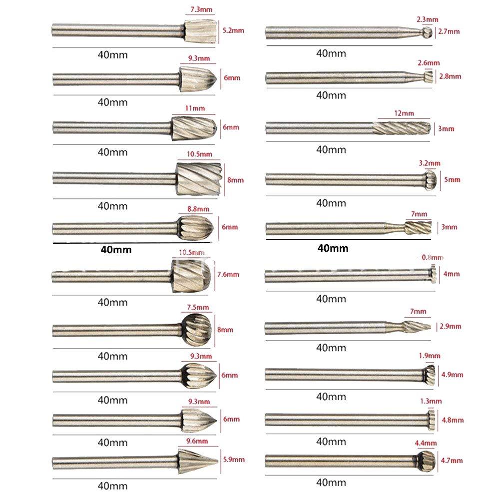 Juego de fresas 20 piezas Juego de fresas rotativas de alta dureza Lima giratoria de m/últiples formas para trabajar la madera perforar apto para Dremel grabar tallar eje de 3 mm