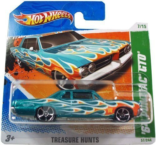 '64 PONTIAC GTO (Metalflake Teal) * 2010-2011 Hot Wheels #57/244 Treasure Hunts 7/15 1:64-scale car on SHORT CARD ()