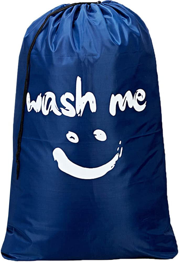 HOMEST XL Wash Me Travel Laundry Bag, Machine Washable Dirty Clothes Organizer, Large Enough to Hold 4 Loads of Laundry, Easy Fit a Laundry Hamper or Basket, Navy Blue