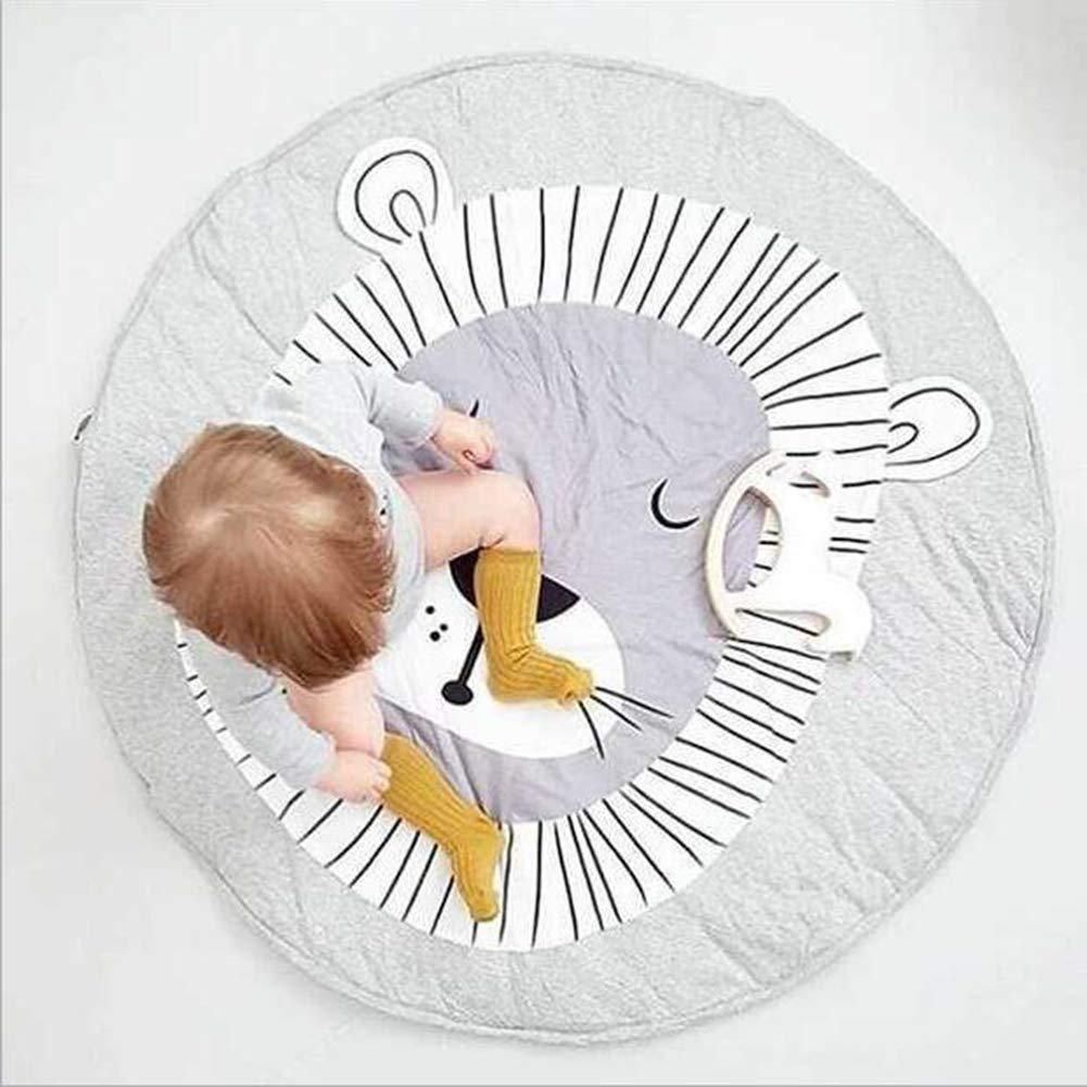 2 cm de grosor di/ámetro 90 cm Alfombrillas de algod/ón Alfombrillas para gatear en forma de le/ón redondo para beb/é unisex gris Alfombrilla de juego para beb/és