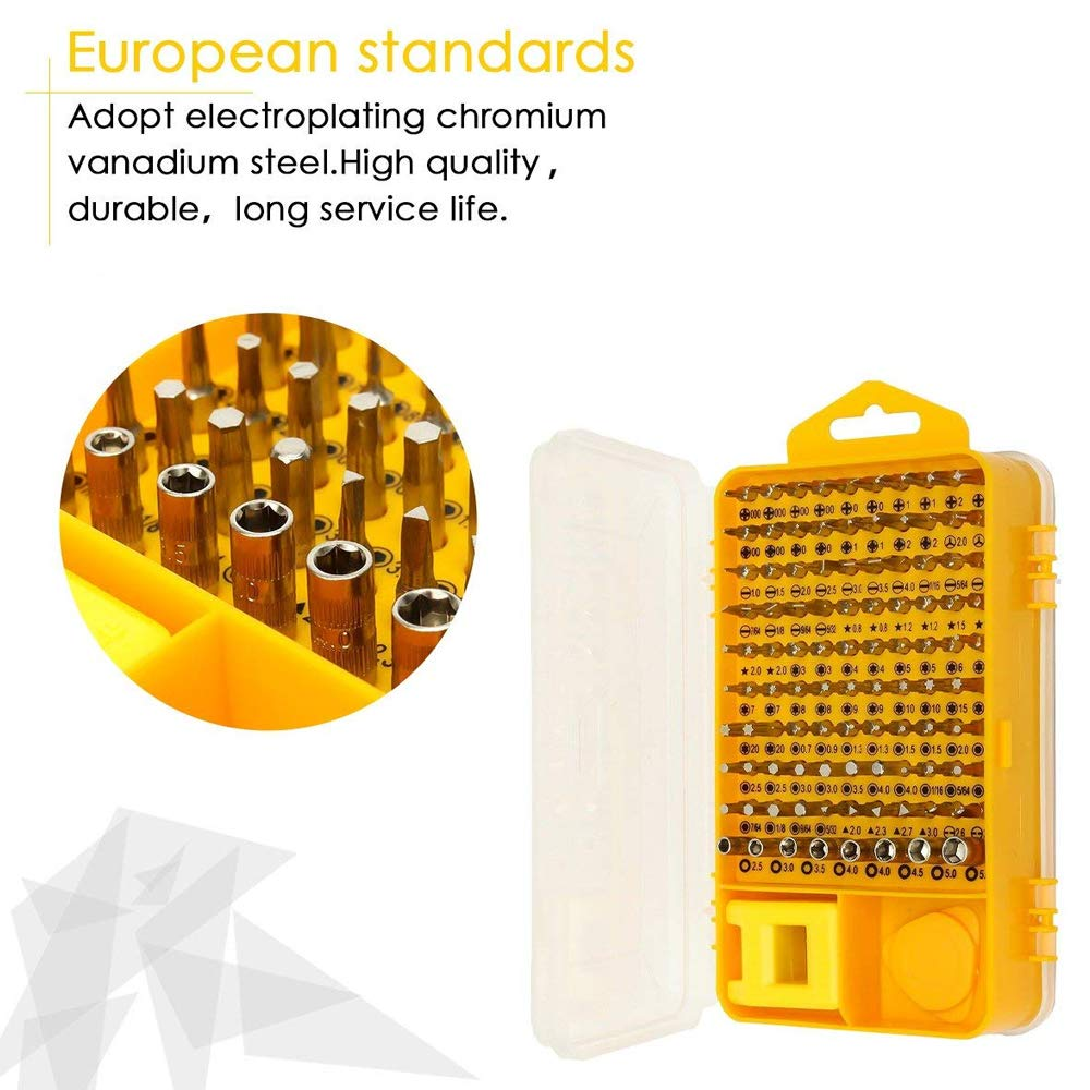 Screwdriver Set,110 in 1 Precision Screwdriver Repair Tool Kit,Wishesport Magnetic Driver Kit Professional Repair Tool Kit for iPhone X, 8, 7 Cellphone Computer Tablet PC Electronics Devices(Yellow) by Wishesport (Image #2)