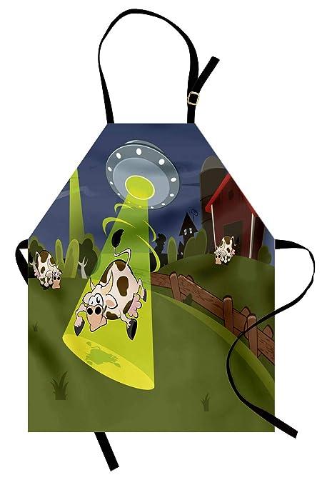 ABAKUHAUS Dibujos Animados Delantal de Cocina, Vaca De La Granja ...