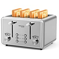 4 Slice Toaster, whall Stainless Steel,Bagel Toaster - 6 Bread Shade Settings,Bagel/Defrost Cancel Function with Dual…