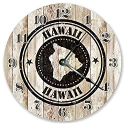 10.5 HAWAII STATE RUBBER STAMP CLOCK - Large 10.5 Wall Clock - Home Décor Clock