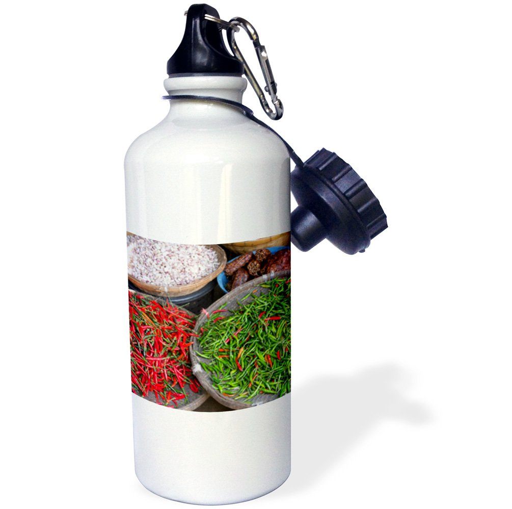 Danita Delimont - Food - Thailand, Chiang Mai. Thai street vendor of green and red Chilies. - 21 oz Sports Water Bottle (wb_226027_1)