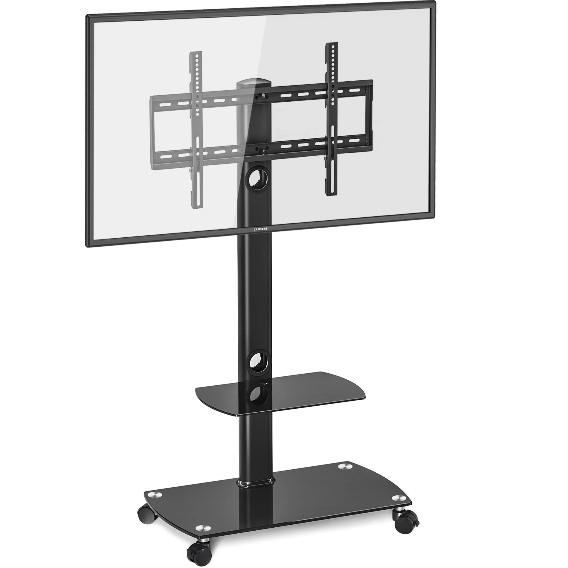 FITUEYES Rolling TV Cart Mobile TV Stand with Wheels and Shelves for 32-65 inch Flat Screen Tvs, TT206503GB