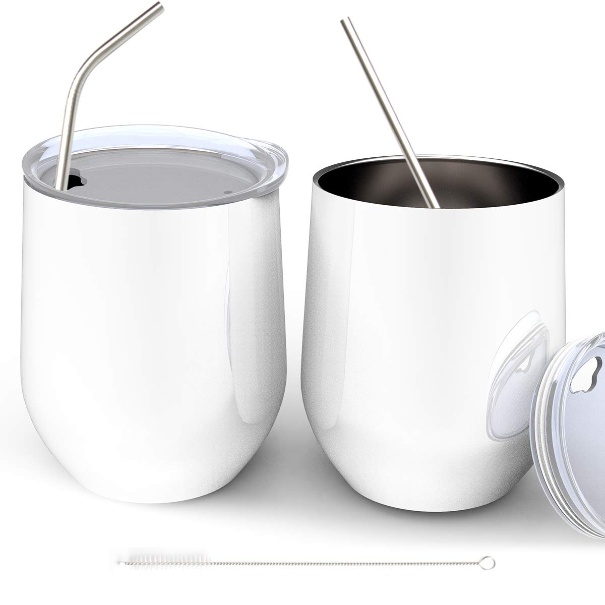 2 PCS Wine Tumbler with Lid and Straw, PAMISO 12 oz Double-Insulated Stainless Steel Cup for Wine, Coffee, Drinks, Home or Office (White)