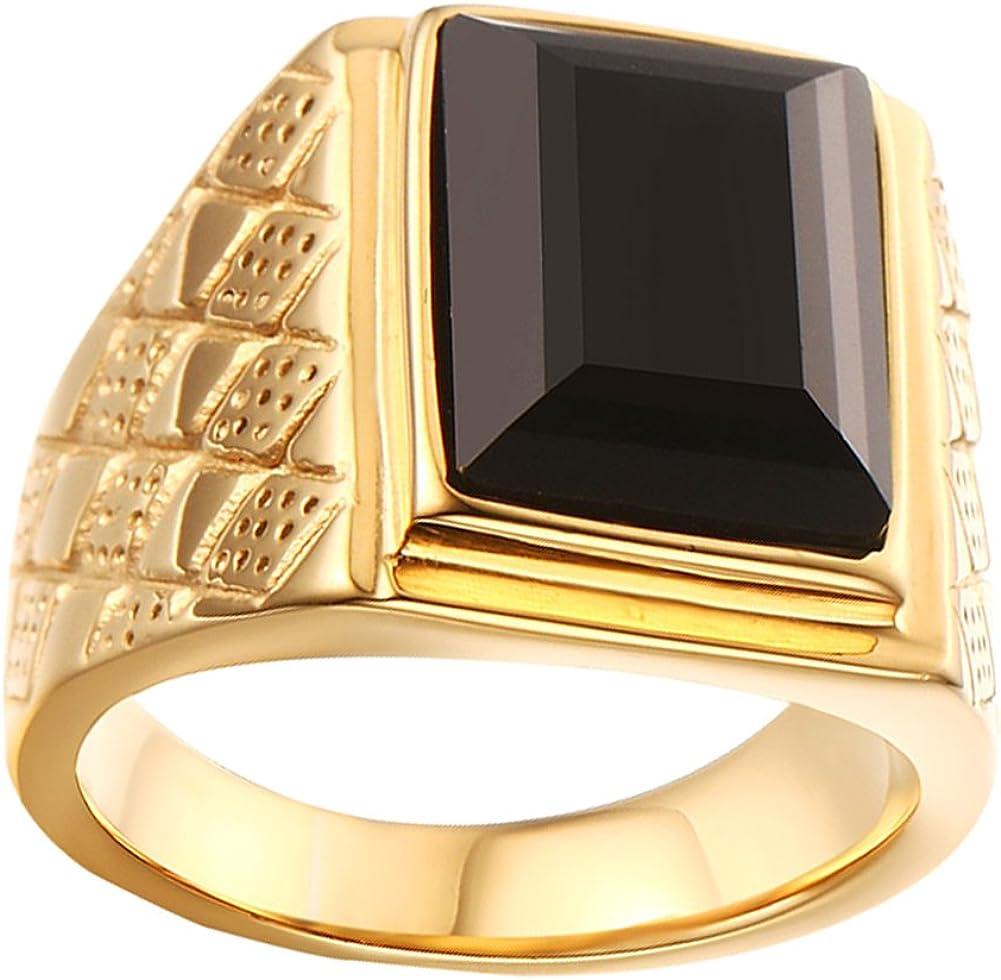 HIJONES Hombres Acero Inoxidable Clásico 18MM 18k Oro Chapado Piedra del zodíaco Anillos con Piedra