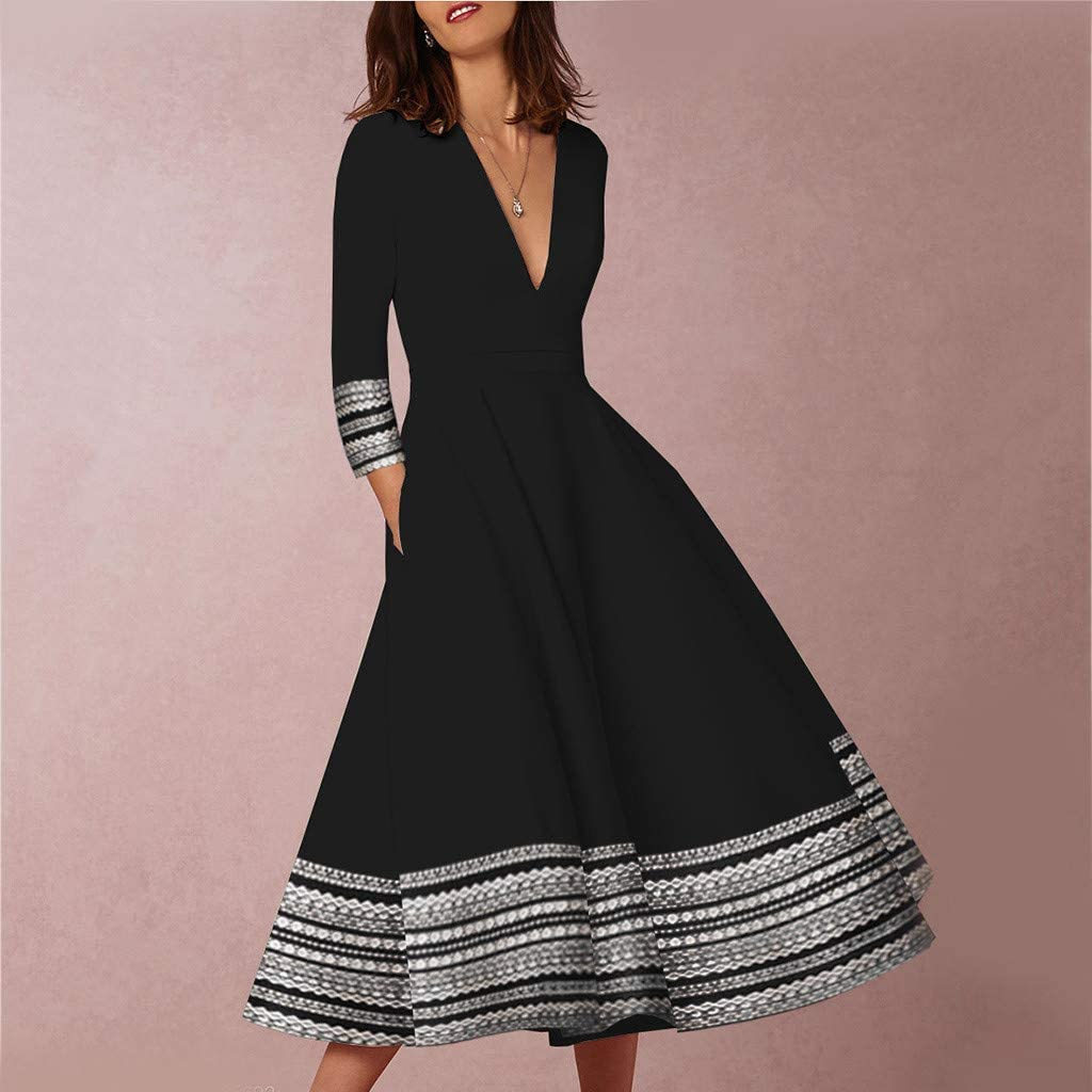 2019 New Women Vintage Printed Maxi Dress Mid Sleeve Empire Waist Ball Gown Prom Evening Party Swing Dress Nmch