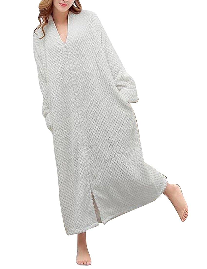 Oberora-Women Fleece Thick Front Zip Long Loungewear Sleep Dress Nightwear