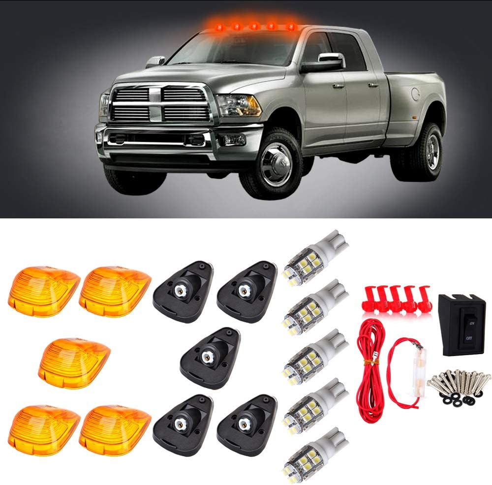 CCIYU Cab Marker Light 5X White T10-20-3528-SMD Top Clearance Roof Running Bulbs 5X Amber Cab Roof Light Covers 1 Set Wiring Pack Switch Assembly Wire Harness fit for 1999-2015 ford F250 F350 F450