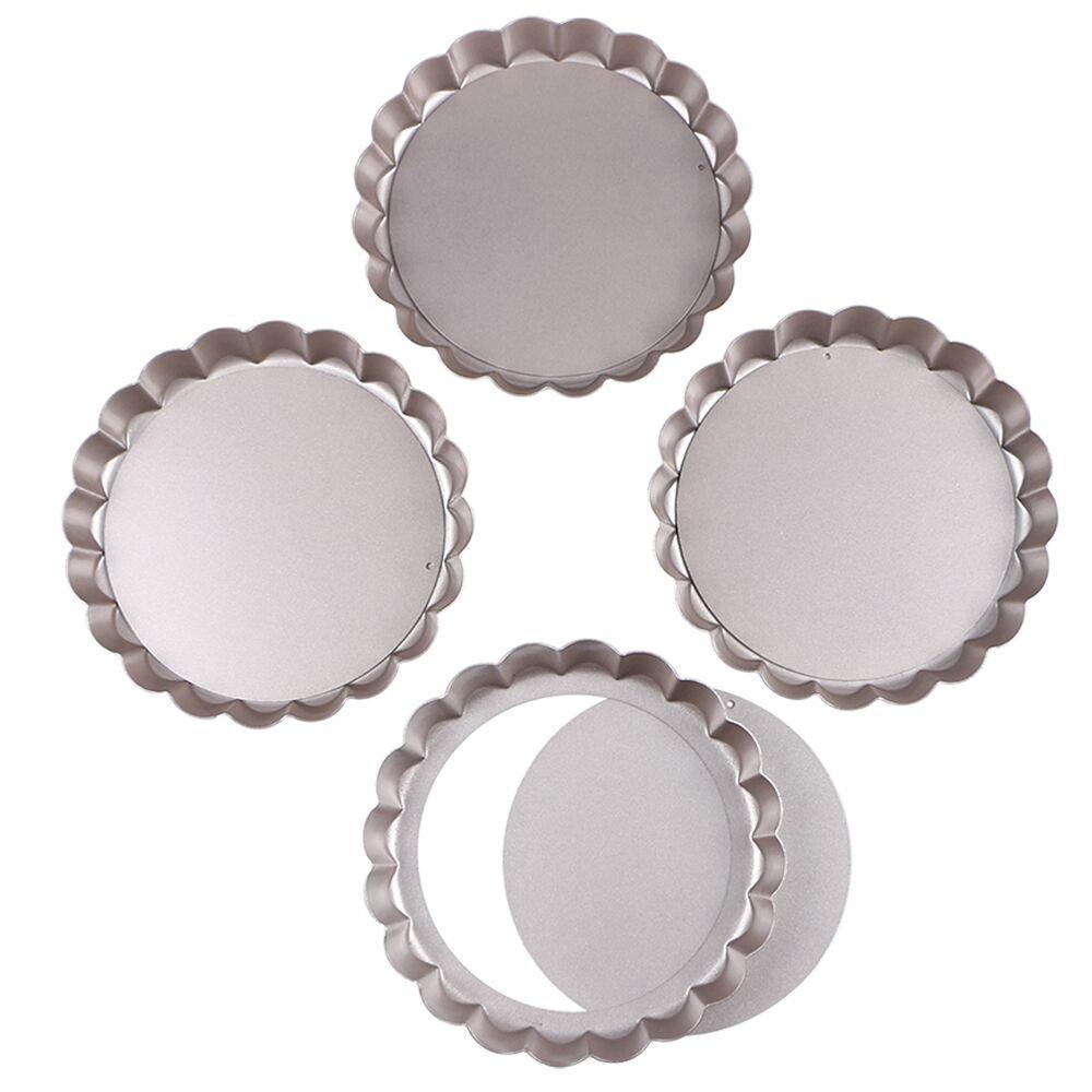 Webake 6 Inch Quiche Pans Removable Bottom Tart Pans Set of 4