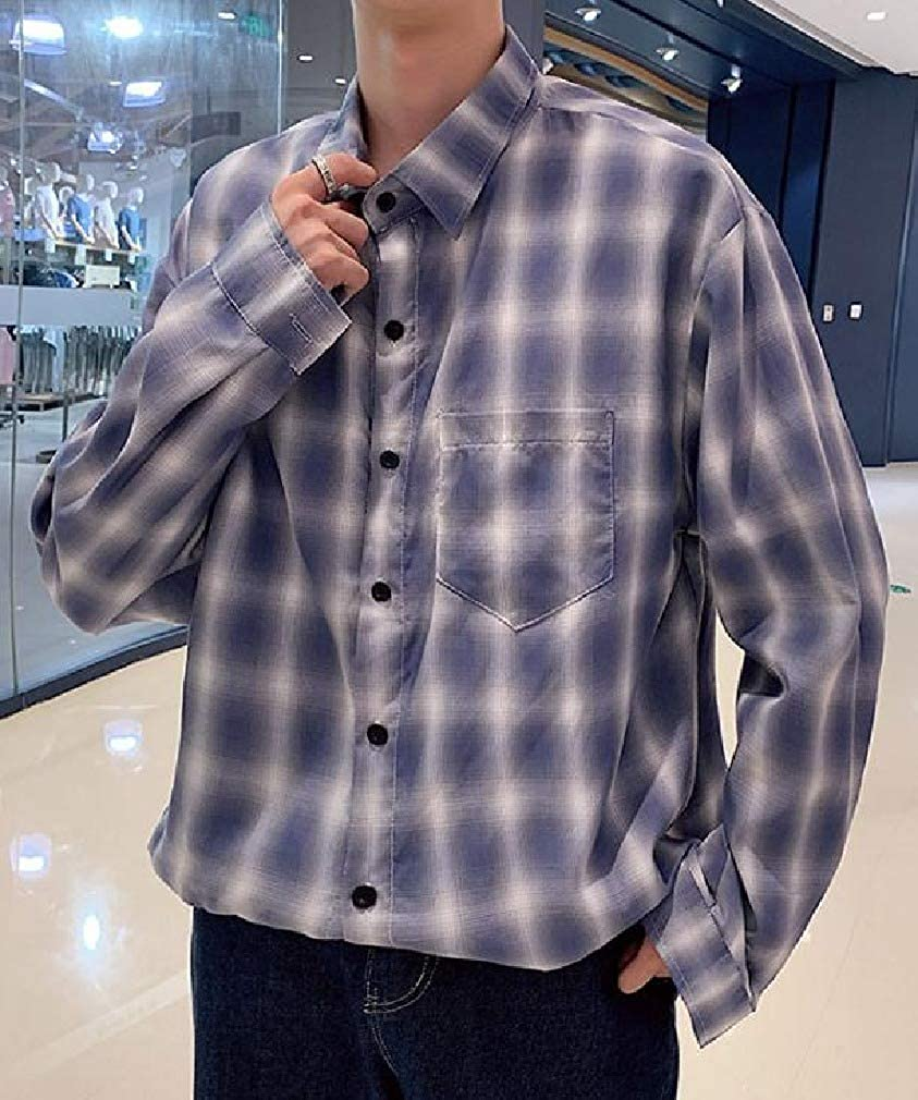 Abetteric Men Long-Sleeve Japanese Plaid Pattern Baggy Teenagers Dress Shirt