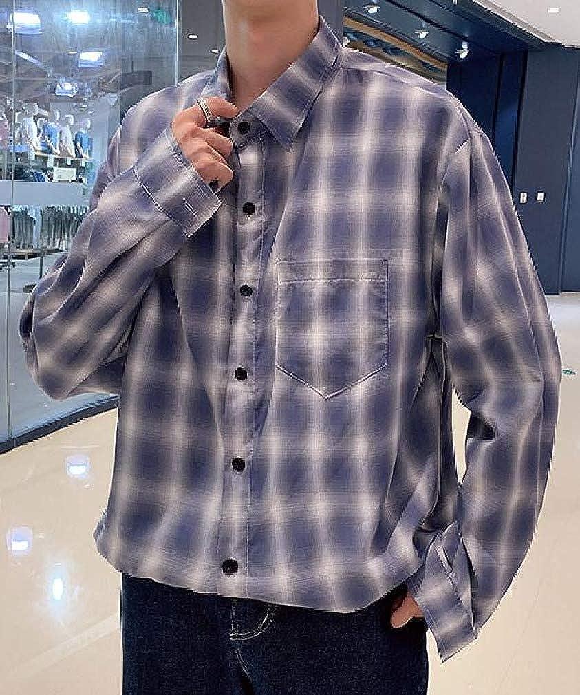 VITryst-Men Casual Long Sleeve Japanese Plaid Junior Longshirt