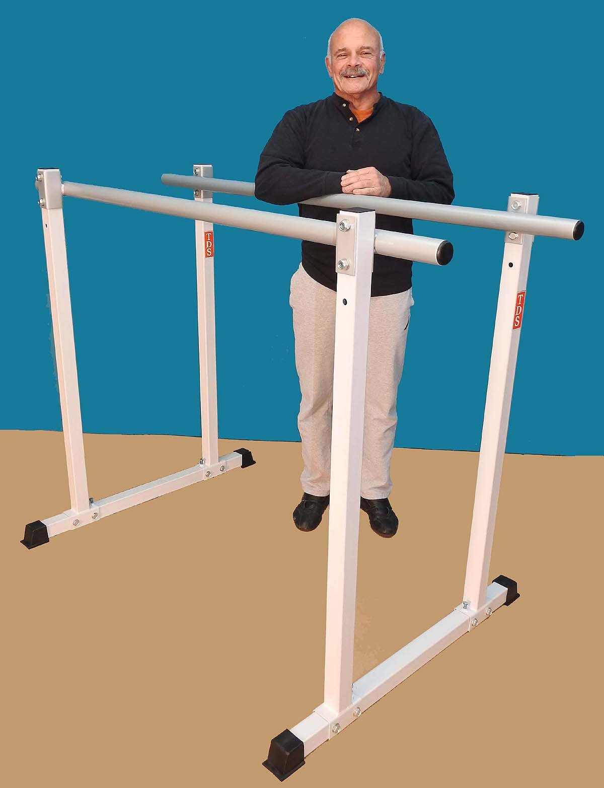 """Titan Gymnastics Parallel Bar, (2) Adjustable Heights & (3) Adjustable widths, with 2"""" dia Parallel Bars – Made in the USA."""