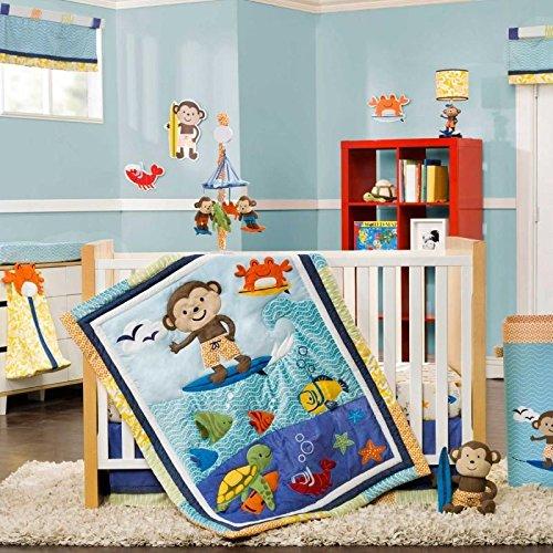 Carter's Surfing Monkey with Sea Animals in the Ocean Boys Nursery 3 Pc Crib Bedding Set